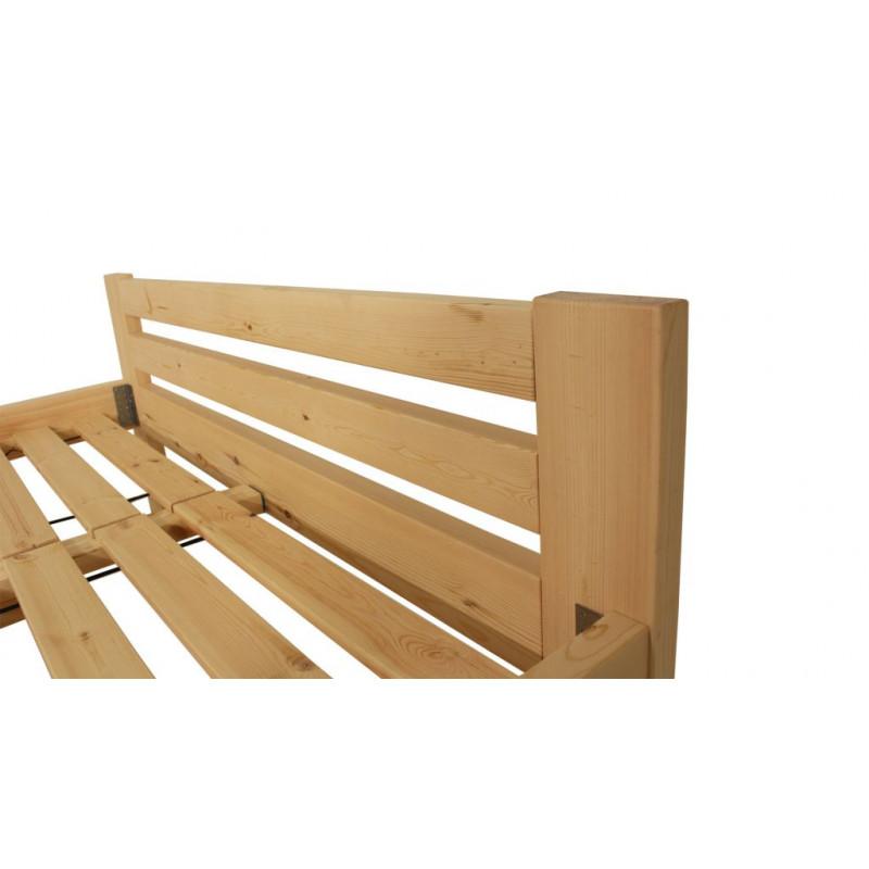 Dřevěná postel 160 x 200 cm - přírodní lak - včetně roštů