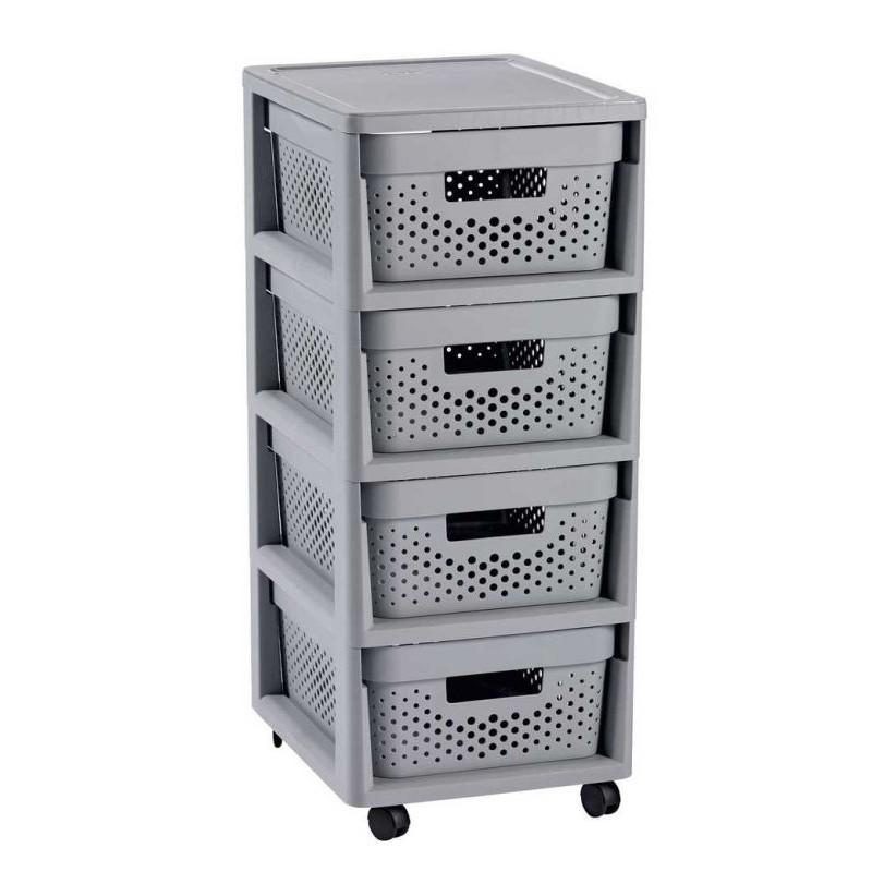 Regál se šuplíky 4x11L INFINITY DOTS - šedý