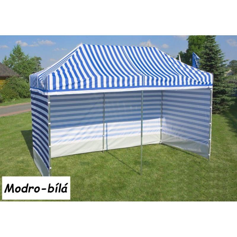 Zahradní párty stan PROFI STEEL 3 x 3 - modro-bílá pruhovaná