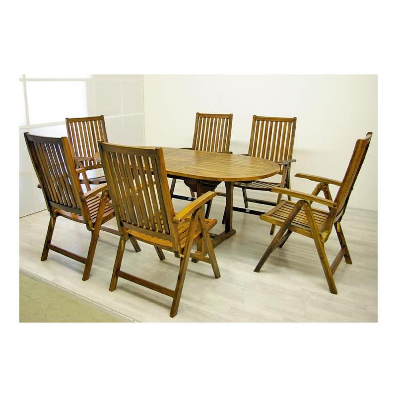 DIVERO zahradní nábytek z akátového dřeva Garth 180 x 240 x 75 x 120 cm