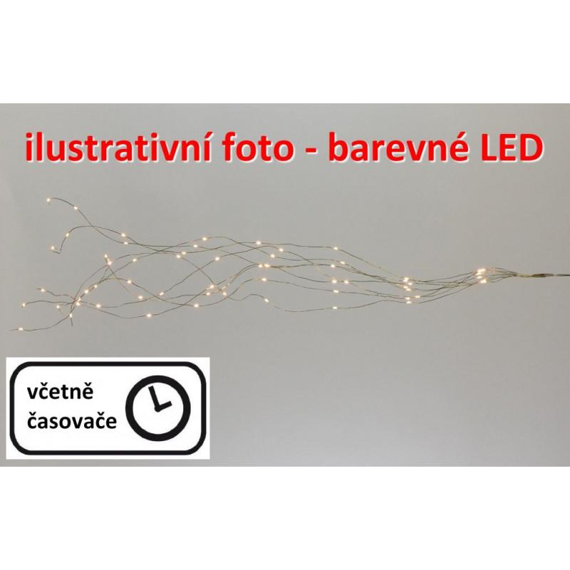 Vánoční dekorativní osvětlení – drátky - 64 LED barevné