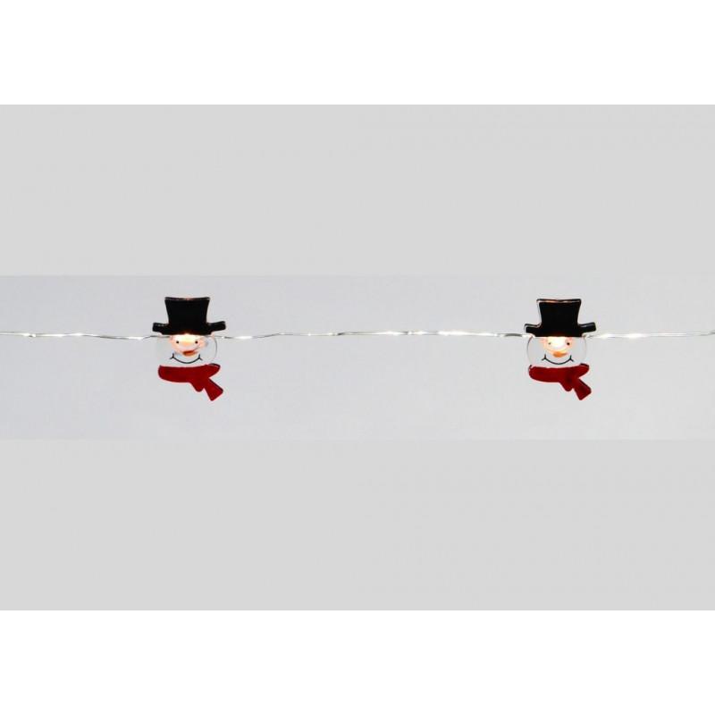 Vánoční dekorativní řetěz - sněhuláci - 20 LED teple bílá
