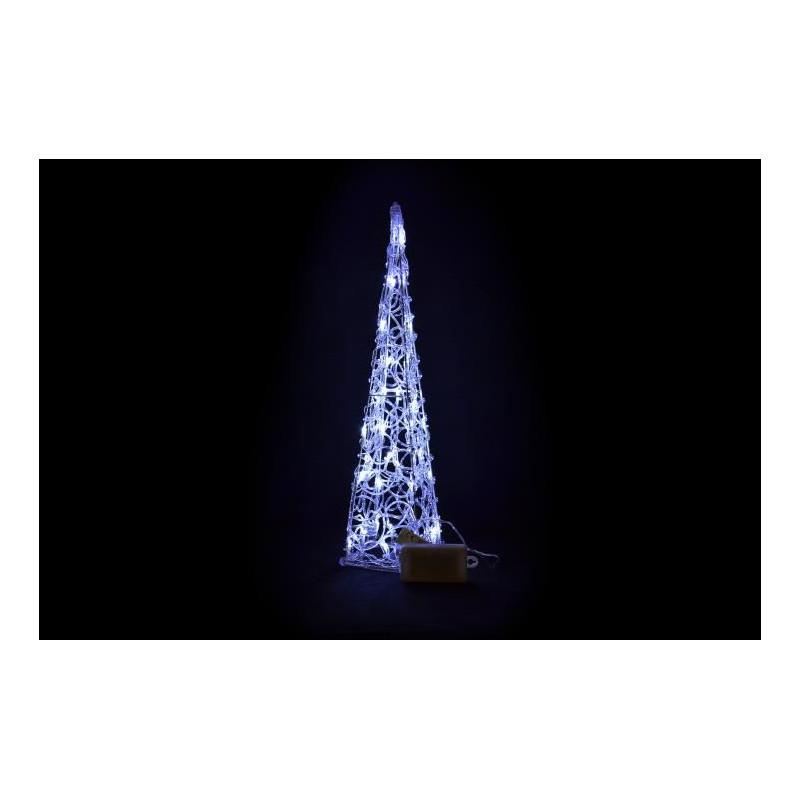 Vánoční dekorace - Akrylový kužel - 60 cm, studeně bílé na baterie