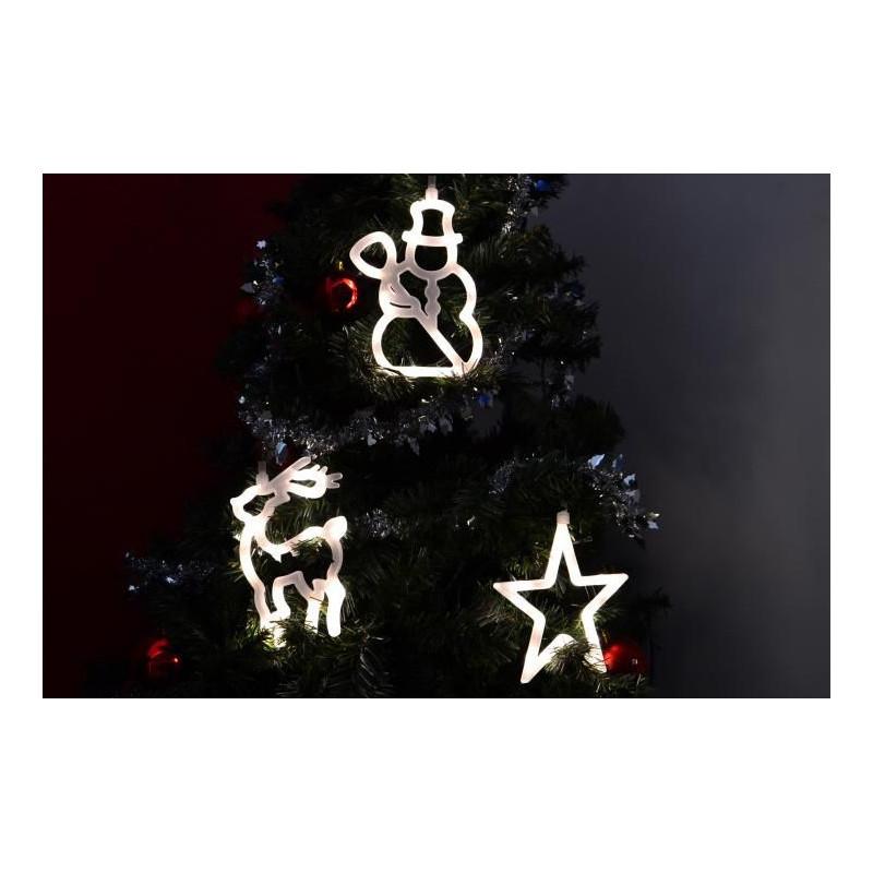 Vánoční dekorace na okno - hvězda, sněhulák, sob - LED FROST