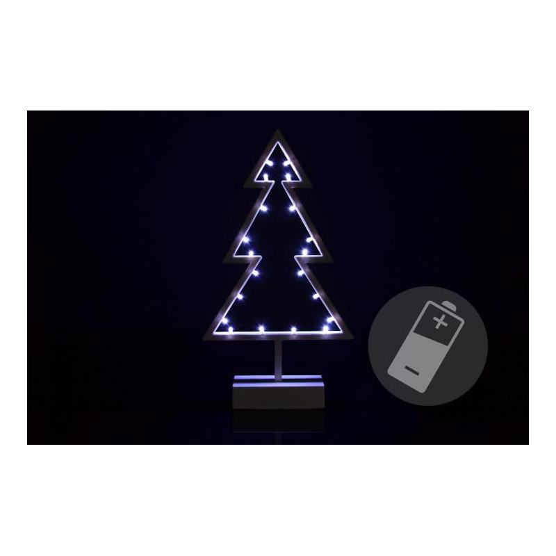 Vánoční dekorace - stromek - studená bílá, 20 LED, 38 cm