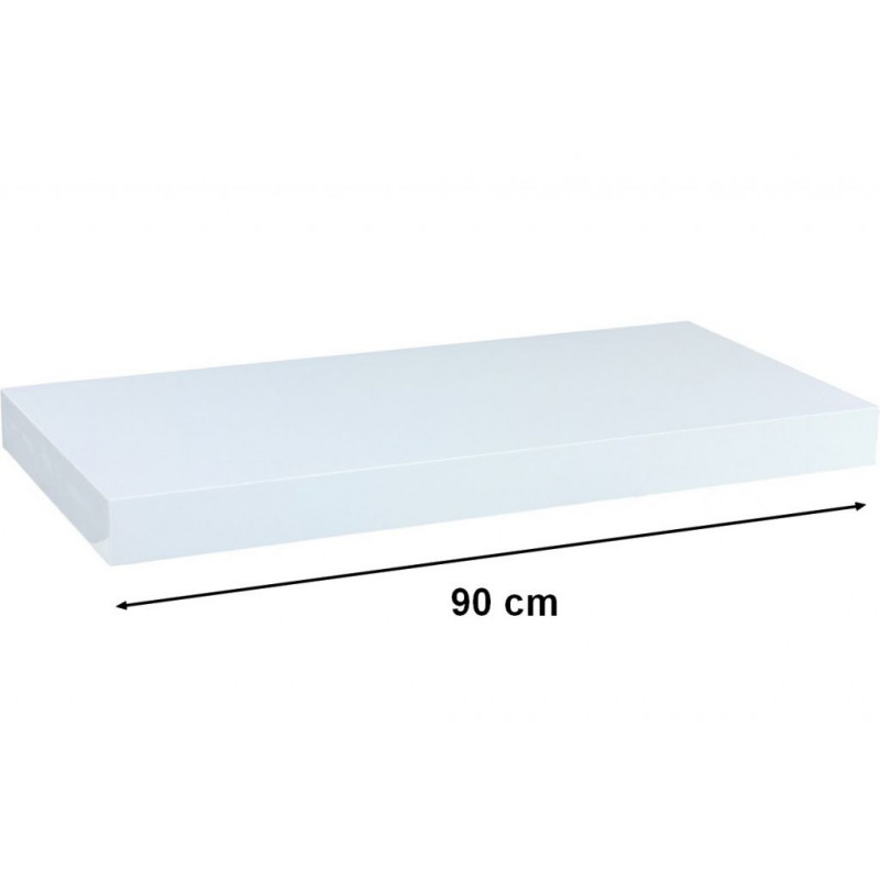 Nástěnná police STILISTA VOLATO - lesklá bílá 90 cm