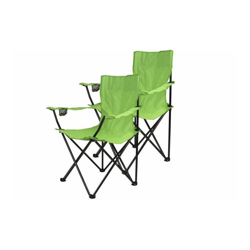 Kempingová sada - 2x skládací židle s držákem - sv. zelená