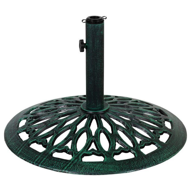 Litinový stojan na slunečník  zelený 17 kg