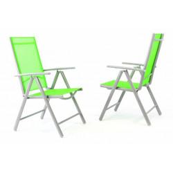 Sada 2 kusů hliníkových polohovatelných židlí - zelená