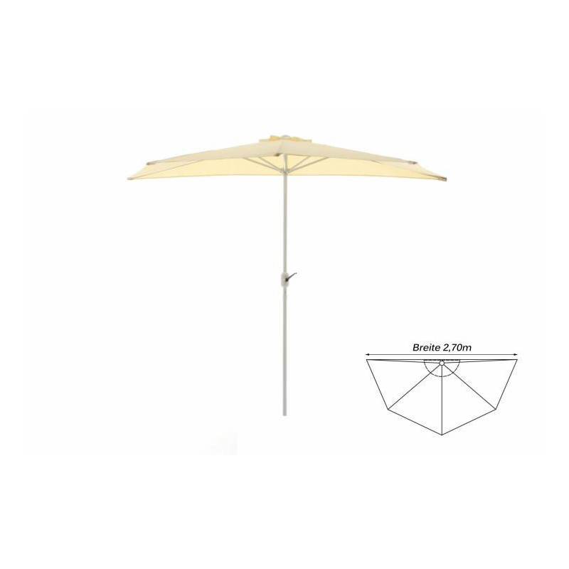 Půlkruhový zahradní slunečník - béžový - 2,7m
