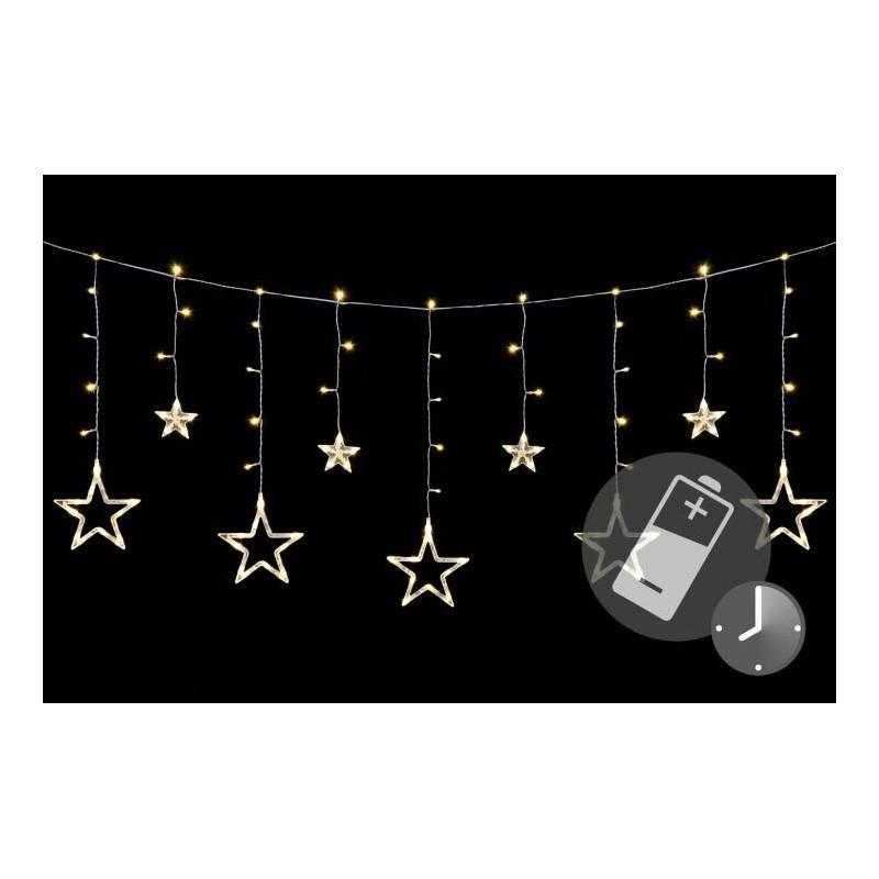 Vánoční LED řetěz - hvězdy - 138 LED 1,65 m teple bílé