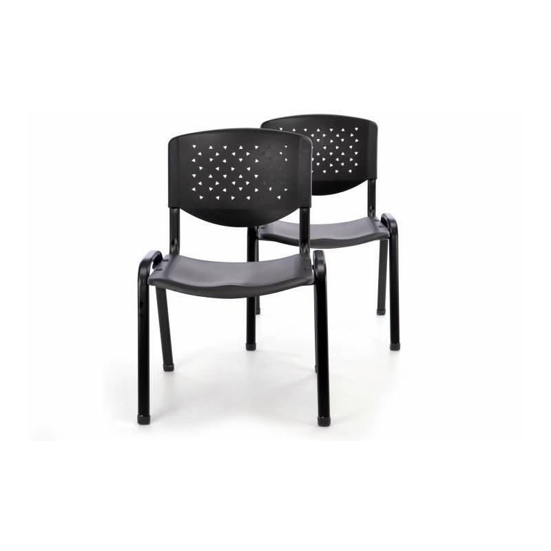 Sada 2 ks stohovatelné plastové kancelářské židle - černá