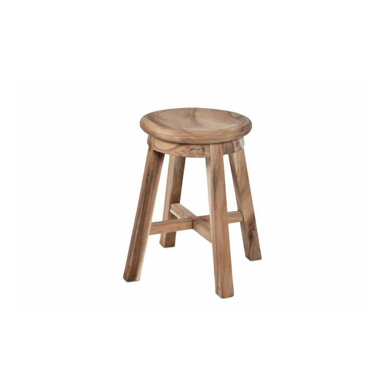 Stolička DIVERO kulatá z masivního SUAR dřeva