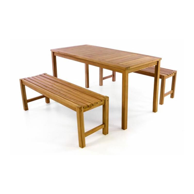 Zahradní set lavic a stolu DIVERO -  ošetřené týkové dřevo - 150 cm